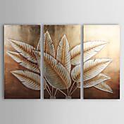 Pintada a mano Floral/Botánico Tres Paneles Lienzos Pintura al óleo pintada a colgar For Decoración hogareña