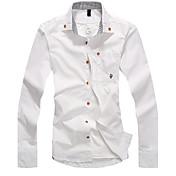Camisa De los hombres Un Color Casual-Mezcla de Algodón-Manga Larga-Azul / Verde / Rojo / Blanco / Amarillo