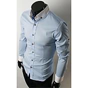 Casual Camisa de manga larga del collar del soporte de los hombres