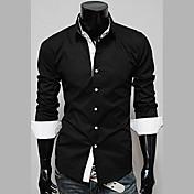 Camisa De los hombres Un Color Casual-Algodón-Manga Larga-Negro / Rojo / Blanco / Beige