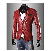 Collar del soporte de la manera capa de la chaqueta de la PU de los hombres de cuero