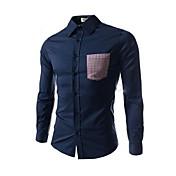 メンズチェックステッチカジュアル長袖シャツ