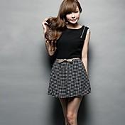 女性の韓国スタイルのファッションのバックパックジッパーストライプスリムノースリーブワンピース