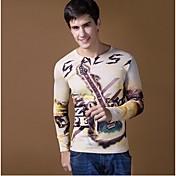 Camiseta De los hombres Estampado-Casual-Algodón / Elástico / Punto-Manga Larga-Multicolor