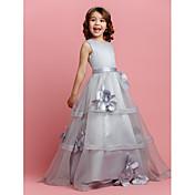 Una línea de longitud del piso vestido de niña de flores - satén sin mangas de organza joya cuello con la cinta de lan ting bride®