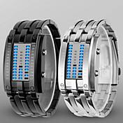 Hombre Reloj de Pulsera Reloj digital Digital LED Resistente al Agua Aleación Banda De Lujo Negro Plata