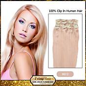 Clipe em extensões de cabelo humano remy loira (# 613) 8pcs / pack