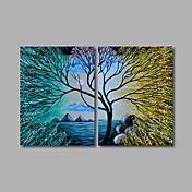 Pintada a mano Abstracto Dos Paneles Lienzos Pintura al óleo pintada a colgar For Decoración hogareña