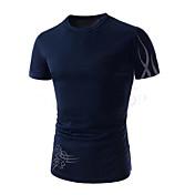 Camiseta De los hombres Un Color-Casual / Trabajo / Formal / Deporte / Tallas Grandes-Algodón / Nailon-Manga Corta-Negro / Azul / Blanco