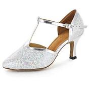Zapatos de baile(Plata) -Latino / Moderno / Salsa-Personalizables-Tacón Personalizado