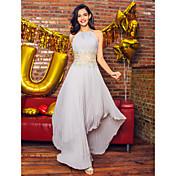 Corte en A Joya Asimétrica Raso Baile de Promoción Evento Formal Vestido con Cuentas Recogido por TS Couture®
