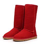 Mujer-Tacón Plano-Botas de Nieve Botas a la Moda-Botas-Exterior Informal-Cuero Ante Piel-