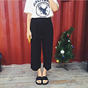 Mujer Perneras anchas Vaqueros Pantalones,Un Color Casual/Diario Sencillo Algodón Eslático Verano / Con Muelle
