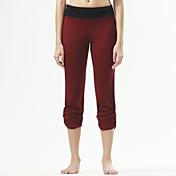 Pantalones de yoga Cortados Transpirable Cómodo Cintura Media Eslático Ropa deportiva Negro Borgoña MujerYoga Pilates Ejercicio y Fitness