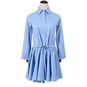 Mujer Vaina Vestido Casual/Diario Simple,Un Color Cuello Camisero Sobre la rodilla Manga Larga Azul Algodón Otoño Tiro Alto Rígido Fino