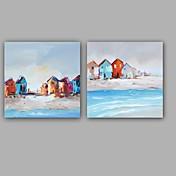 Pintada a mano Abstracto Paisajes Abstractos Pinturas de óleo,Modern Estilo europeo Un Panel Lienzos Pintura al óleo pintada a colgar For
