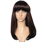 Mujer Pelucas sintéticas Sin Tapa Liso castaño medio Peluca natural Las pelucas del traje