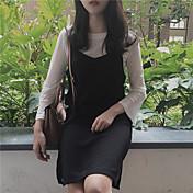 signo otoño nueva versión coreana de blanco vestido del arnés de dos piezas de la manga cuerno