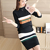 # 4383 de otoño e invierno nuevas mujeres de punto suéter de pieza listones de encaje traje de cobertura delgados coreanos