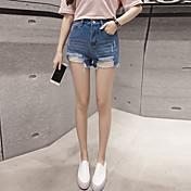 Mujer Un Color Tiro Medio strenchy Shorts Pantalones,Pitillo Color sólido Color puro