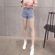 firmar hace millones de años a través de los modelos básicos coreano borde peludo corto con flecos anchos pantalones cortos de mezclilla