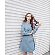 Q記号日本と韓国の春スリムシングルブレスト巾着デニムワンピース
