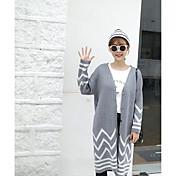 firmar; Hembra cardigan suéter largo de la sección de las nuevas mujeres&# 39; s rayas blusa botón de la marea versión coreana