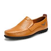 Hombre Zapatos PU Primavera Otoño Mocasín Zapatos de taco bajo y Slip-On Paseo Encaje Cosido Para Casual Negro Marrón Claro Morrón Oscuro