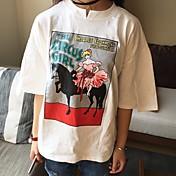 Mujer Simple Casual/Diario Camiseta,Escote Redondo Estampado 3/4 Manga Algodón