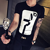 Hombre Simple Activo Casual/Diario Deportes Verano Camiseta,Escote Redondo Estampado Manga Corta Algodón Fino