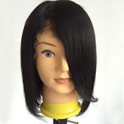 Mujer Pelucas de Cabello Natural Cabello humano Encaje Completo 130% Densidad Liso Peluca Negro Azabache Medio Entradas Naturales Para