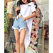 Mujer Sexy Simple Casual/Diario Primavera Verano Camiseta,Escote Redondo Un Color Estampado Manga Corta Algodón Fino