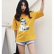 Mujer Sexy Casual/Diario Verano Camiseta,Escote Redondo Un Color 1/2 Manga Algodón Opaco