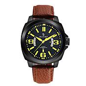 Hombre Reloj Deportivo Reloj de Moda Chino Cuarzo Calendario Noctilucente Cuero Auténtico Banda Marrón