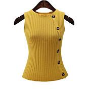 Mujer Regular Cardigan Casual/DiarioUn Color Halter Sin Mangas Algodón Verano Medio Microelástico