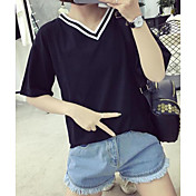 Mujer Simple Casual/Diario Primavera Verano Camiseta,Escote en Pico A Rayas Retazos Manga Corta Algodón Fino