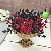 Doblado Superior Invitaciones De Boda 5-Tarjetas de Agradecimiento Conjuntos de Invitaciones Estilo artístico Estilo Floral Papel relieve