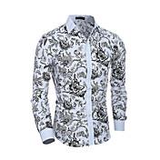 Hombre Simple Casual/Diario Trabajo Camisa,Cuello Camisero Estampado Manga Larga Algodón Poliéster