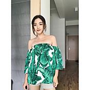 Mujer Simple Casual/Diario Blusa,Escote Barco Floral Manga Corta Otro