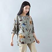 Mujer Vintage Casual/Diario Camiseta,Escote Redondo Floral Estampado Estampado Animal Manga 3/4 Algodón Lino