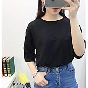 Mujer Simple Casual/Diario Verano Camiseta,Escote Redondo A Lunares Media Manga Algodón Medio