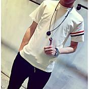 Hombre Simple Casual/Diario Camiseta,Escote Redondo Un Color Manga Corta Algodón