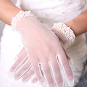 手首丈 指先 グローブ 通気性メッシュ チュール フォーマル シンプル ぜいたく メッシュ ブライダル手袋 パーティー/イブニング手袋 春 夏 ビーズ