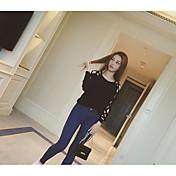 Mujer Regular Pullover Casual/Diario Un Color Escote Redondo Manga Larga Lana Algodón Primavera Otoño Medio Microelástico