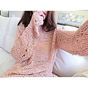 Mujer Regular Pullover Noche Casual/Diario Simple,Un Color Escote Redondo Manga Larga Acrílico Primavera Otoño Semiopaco Microelástico