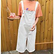 Mujer Sencillo Tiro Alto Microelástico Mono Pantalones,Corte Ancho Un Color