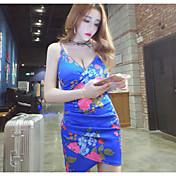 Mujer Corte Bodycon Vestido Noche Un Color Floral Con Tirantes Mini Manga Corta Poliéster Verano Tiro Medio Microelástico Fino