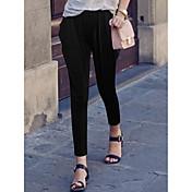 Mujer Sencillo Tiro Alto Eslático Ajustado Pantalones,Pantalones Harén Un Color Retazos