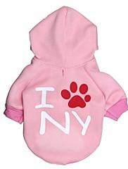 Cachorro Camisola com Capuz Roupas para Cães Casual Carta e Número Rosa claro