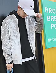 Masculino Jaqueta Para Noite Simples Outono,Estampado Padrão Pêlo Sintético Colarinho Chinês Manga Longa